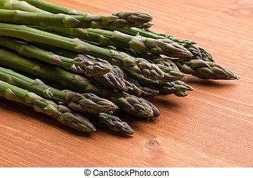 asparagus on wooden table