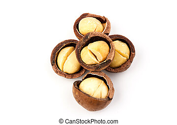 natural organic macadam nuts with clipping path on a white isolated background