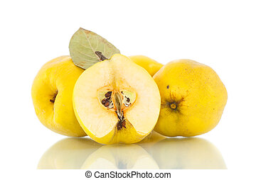 quince - natural organic ripe quince on a white background