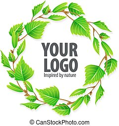 Natural organic sign logo with green leaves