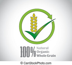 natural organic whole grain food product symbol icon concept...