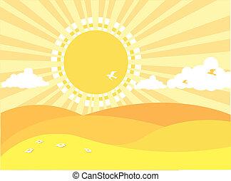 natural, paisagem., fundo, verão, vetorial, desenhos animados