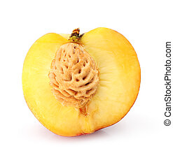 natural peach fruit cut isolated on white