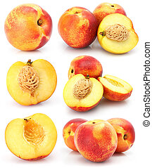 natural peach fruits collection isolated on white