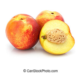 natural peach fruits isolated on white