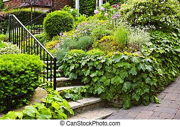 natural, pedra, escadas, jardim