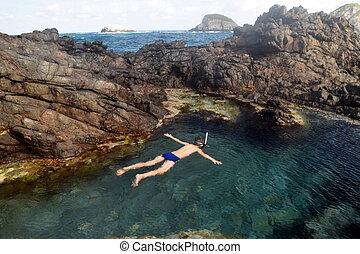 natural, piscina, natação