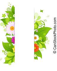 natural, plano de fondo, con, hojas, y, flor