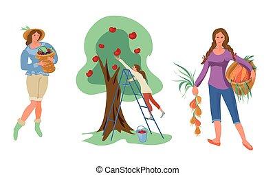 natural, plano, eco, mujeres, vector, cobrar, conjunto, ...