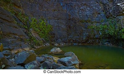 Natural Pond at the Base of a Sheer Cliff