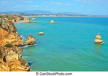natural, portugal, d'ana, rocas, praia, lagos, algarve