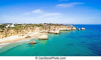 natural, portugal, irmaos, alvor, rocas, praia, aéreo, tres