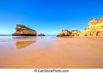 natural, portugal, irmaos, alvor, rocas, praia, tres
