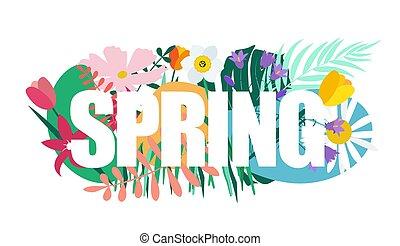 natural, primavera, ilustração, vetorial, fundo, flores