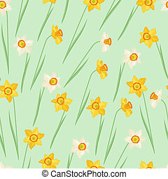 natural, primavera, pattern., seamless, narcissus, flores