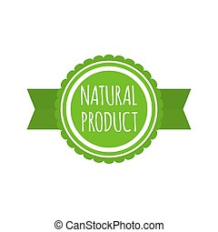 Natural product badge. Round bio food logo. Vegan menu. Vector illustration