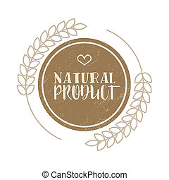 Natural product brown label in vintage style