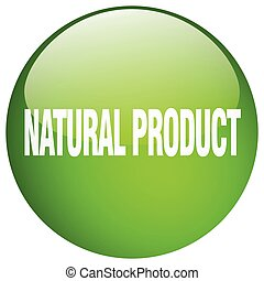 natural product green round gel isolated push button
