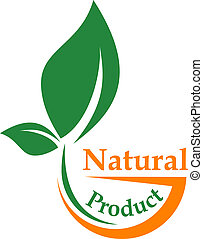 Natural product icon with a green leaf symbolic of bio, organic or ecologically friendly in green and orange with text