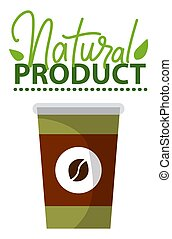 Natural Product, Paper Takeaway Cup with Coffee