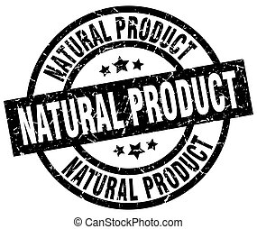natural product round grunge black stamp