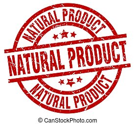 natural product round red grunge stamp