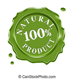 Natural Product Wax Seal - Green wax seal with central text...