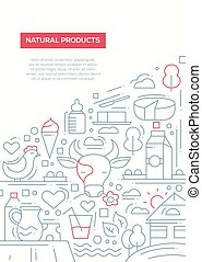 Natural Products - line design brochure poster template A4