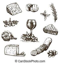 natural, produtos, esboços