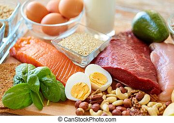 natural, proteína, alimento, ligado, tabela