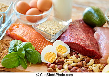 natural protein food on table - healthy eating and diet...