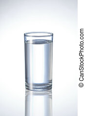 natural pure water in glass. on glossy white background