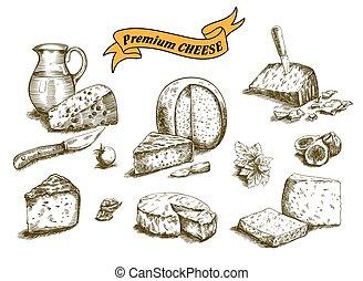 natural, queijo, esboços