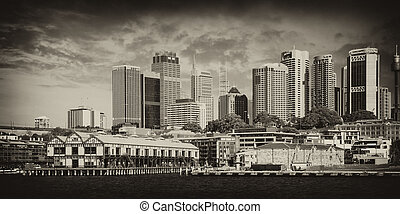 natural, rascacielos, jackson, o, puerto, sydney, puerto
