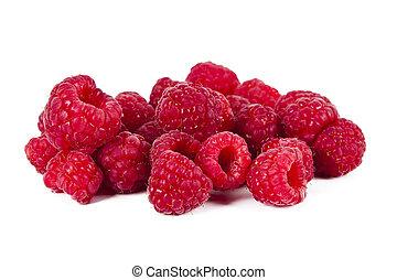 natural raspberries on white background