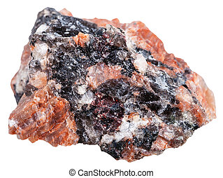natural red granite stone isolated - macro shooting of...