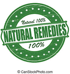 Stamp with text natural remedies inside, vector illustration
