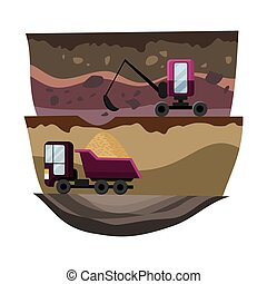 Natural resources design. Vector illustration of national treasure coal and sand. Mining quarry, heavy duty truck and a mining excavator. Equipment for high mining industry