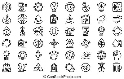 Natural resources icons set. Outline set of natural resources icons for web design isolated on white background