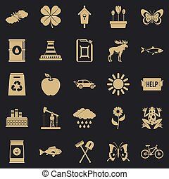 Natural resources icons set. Simple set of 25 natural resources icons for web for any design