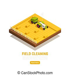 Natural resources agriculture isometric web element with wheat straw stubble harvesting organizing field cleaning machinery vector illustration