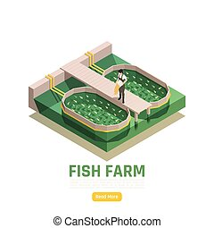 Natural resources aquaculture isometric web page element with fish farm production worker feeding fingerlings vector illustration