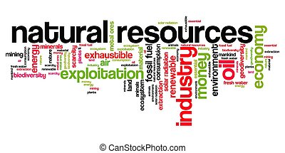 Natural resources issues and concepts word cloud illustration. Word collage concept.