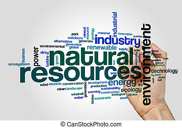 Natural resources word cloud concept on grey background