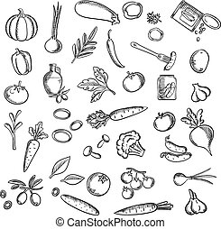 Natural ripe vegetables and herbs sketch icons