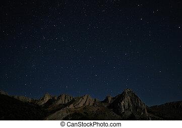 natural, rocas, y, estrellas, por la noche