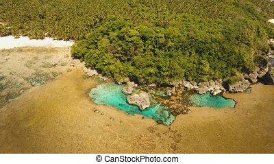 natural rock pools. Philippines,Siargao. - aerial footage...