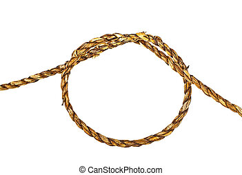 Natural rope in the shape of a loop on a white background