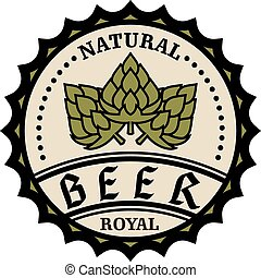 Natural royal beer icon or bottle cap design