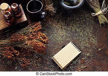 natural, s., hierbas, herbs., medicina, herbario, wort, john...
